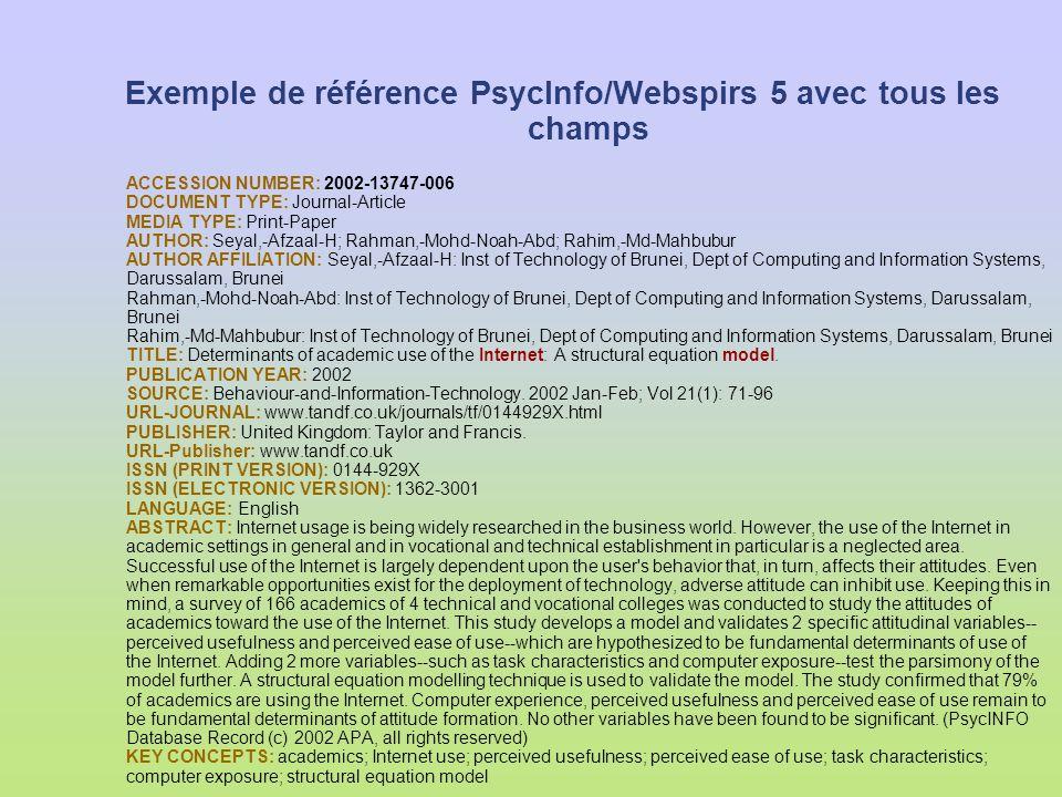 Exemple de référence PsycInfo/Webspirs 5 avec tous les champs