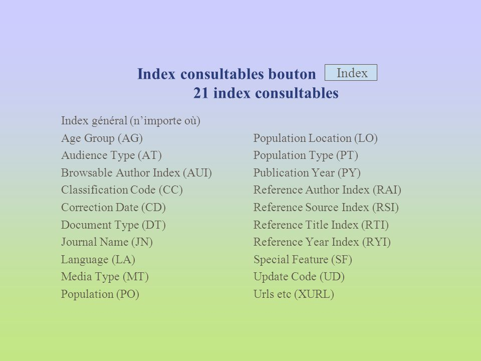 Index consultables bouton 21 index consultables