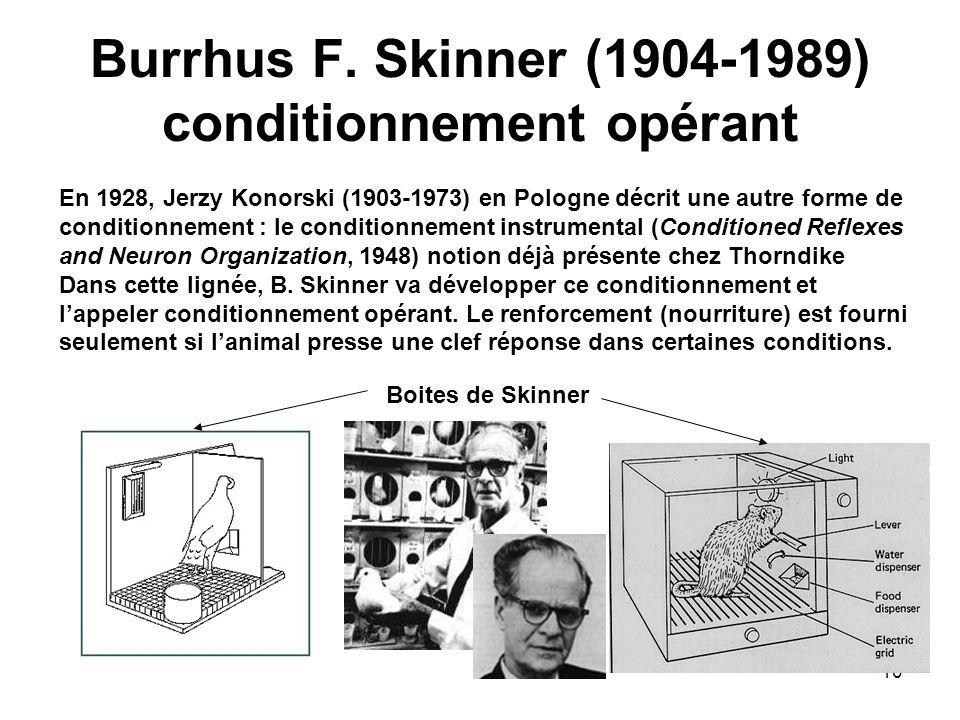 Burrhus F. Skinner (1904-1989) conditionnement opérant