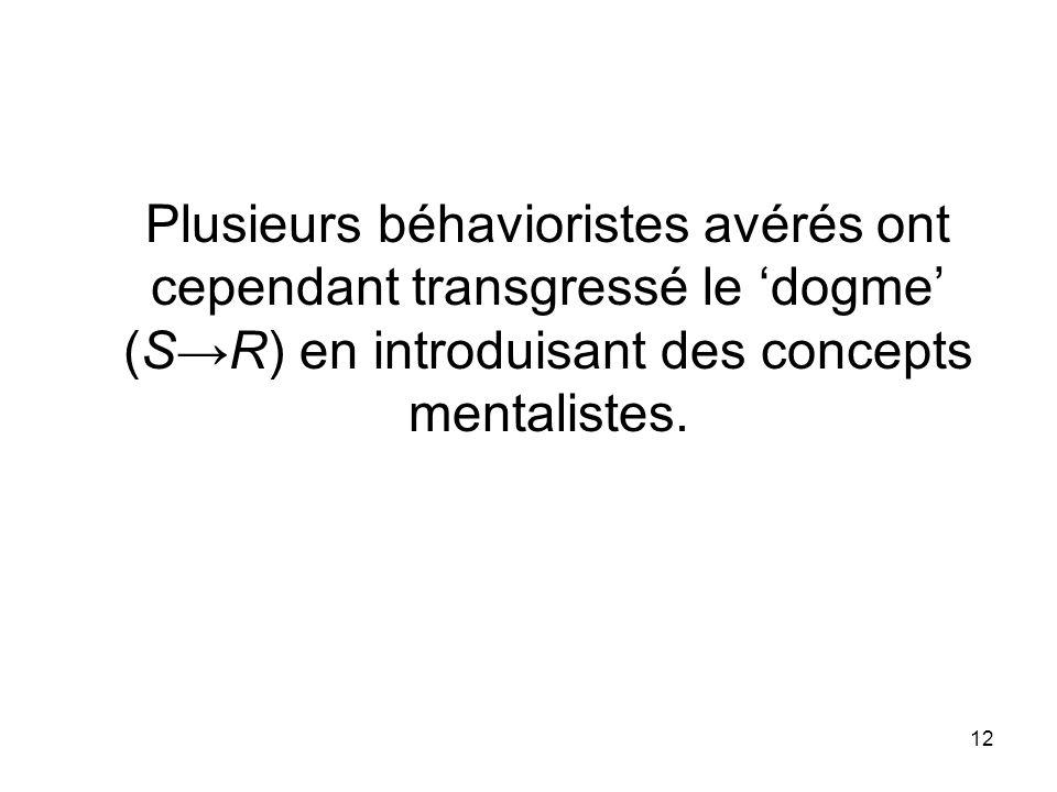 Plusieurs béhavioristes avérés ont cependant transgressé le 'dogme' (S→R) en introduisant des concepts mentalistes.
