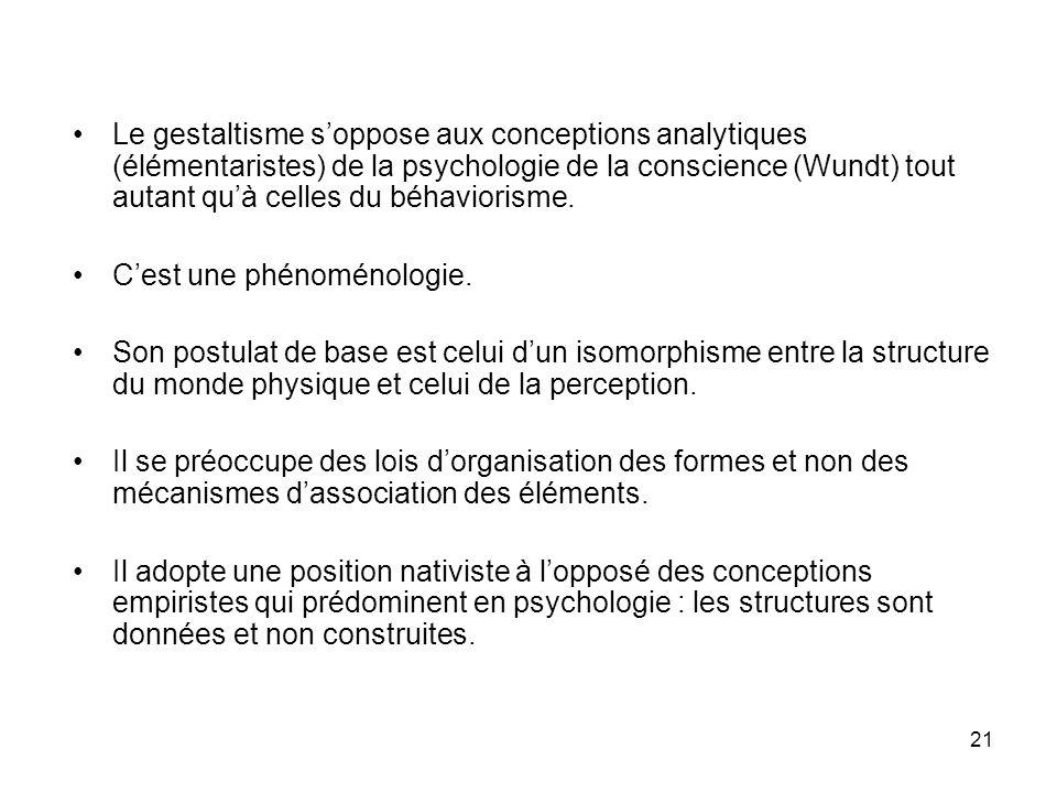 Le gestaltisme s'oppose aux conceptions analytiques (élémentaristes) de la psychologie de la conscience (Wundt) tout autant qu'à celles du béhaviorisme.