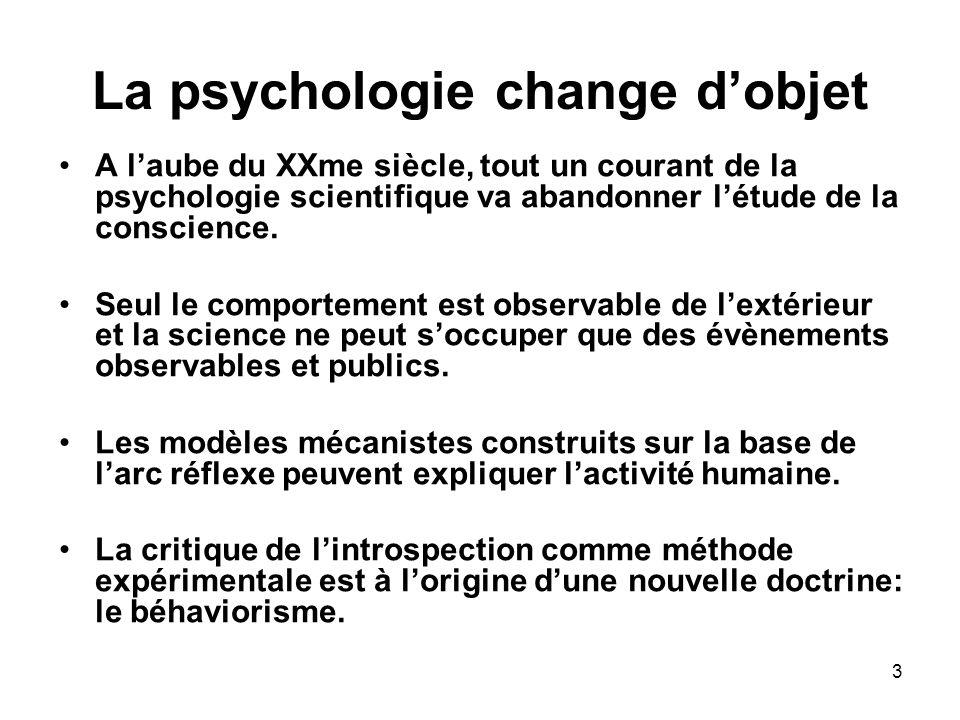 La psychologie change d'objet