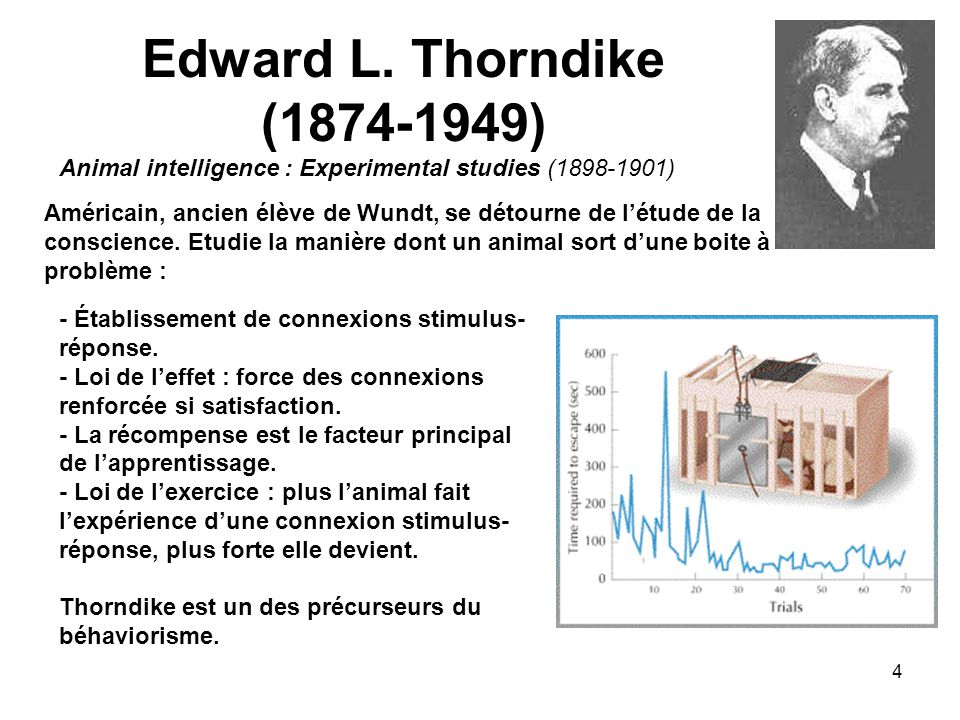 Edward L. Thorndike (1874-1949) Animal intelligence : Experimental studies (1898-1901)