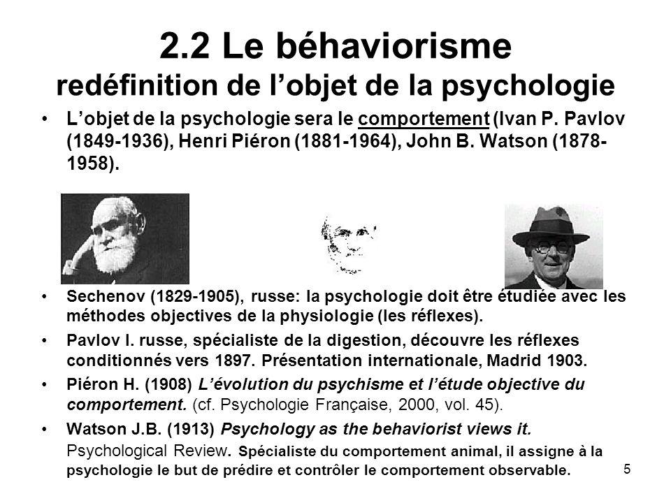2.2 Le béhaviorisme redéfinition de l'objet de la psychologie