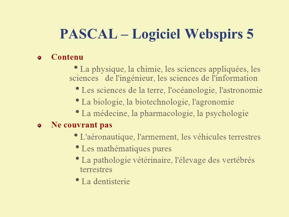 PASCAL – Logiciel Webspirs 5
