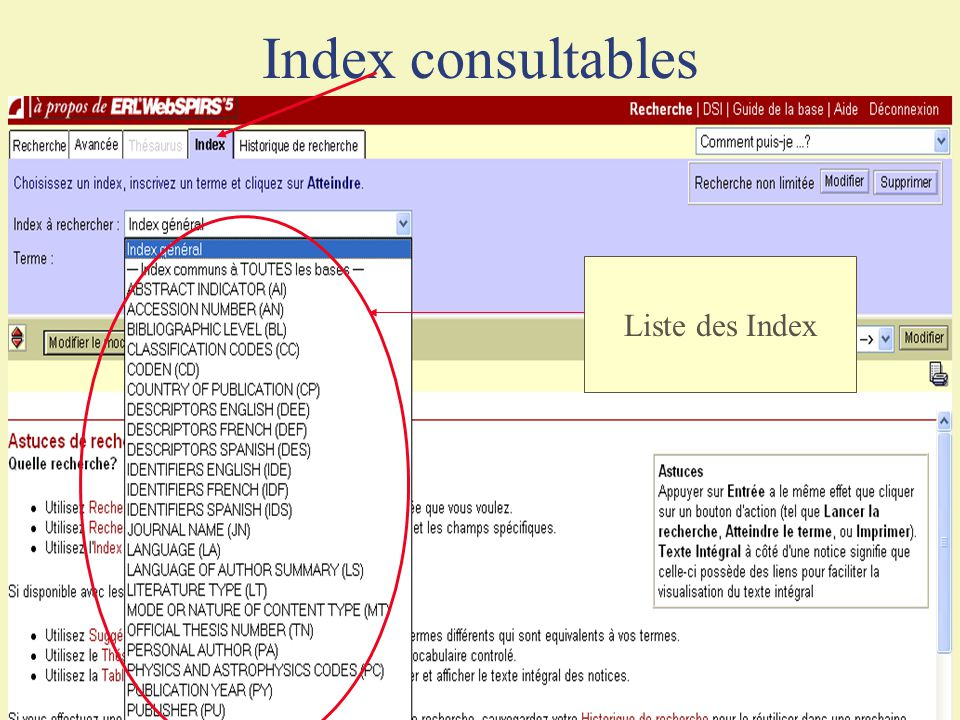 Index consultables Liste des Index