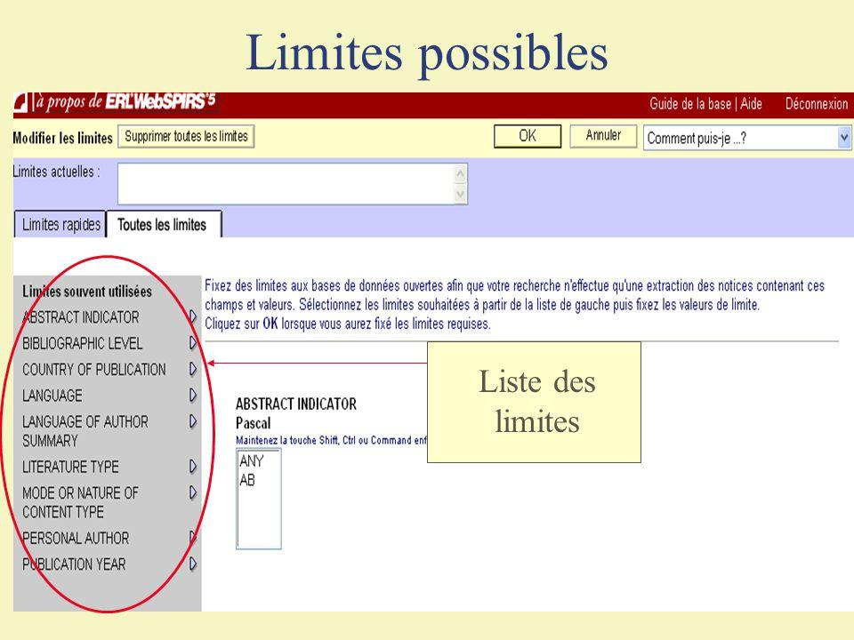 Limites possibles Liste des limites