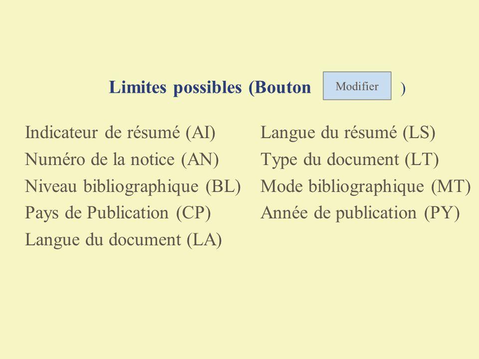 Limites possibles (Bouton )