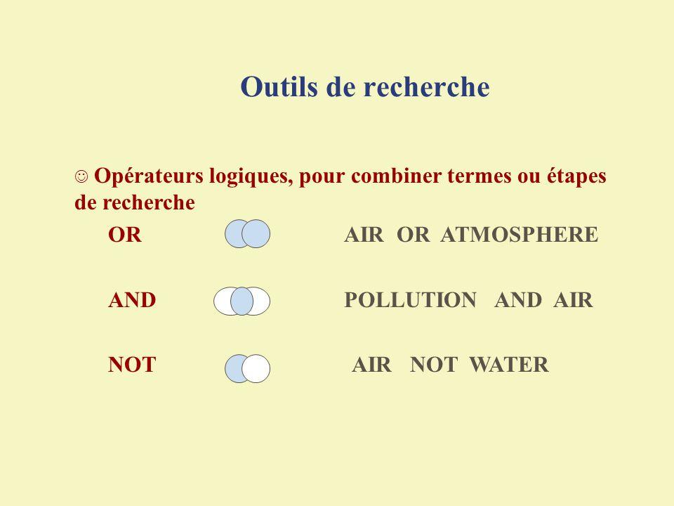 Outils de recherche Opérateurs logiques, pour combiner termes ou étapes de recherche. OR AIR OR ATMOSPHERE.