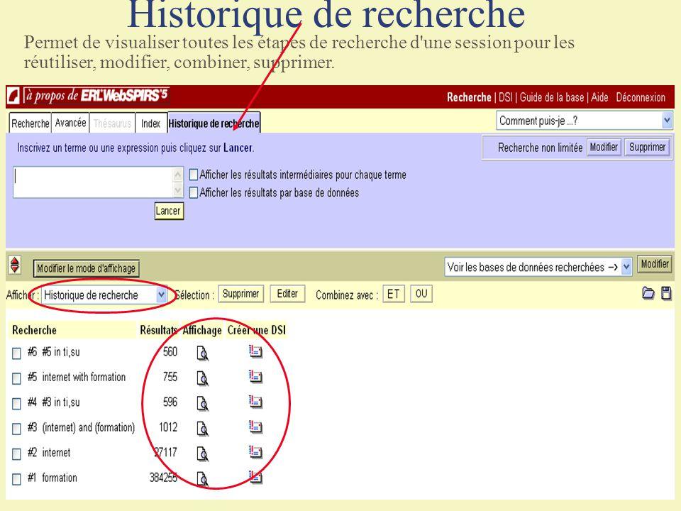 Historique de recherche
