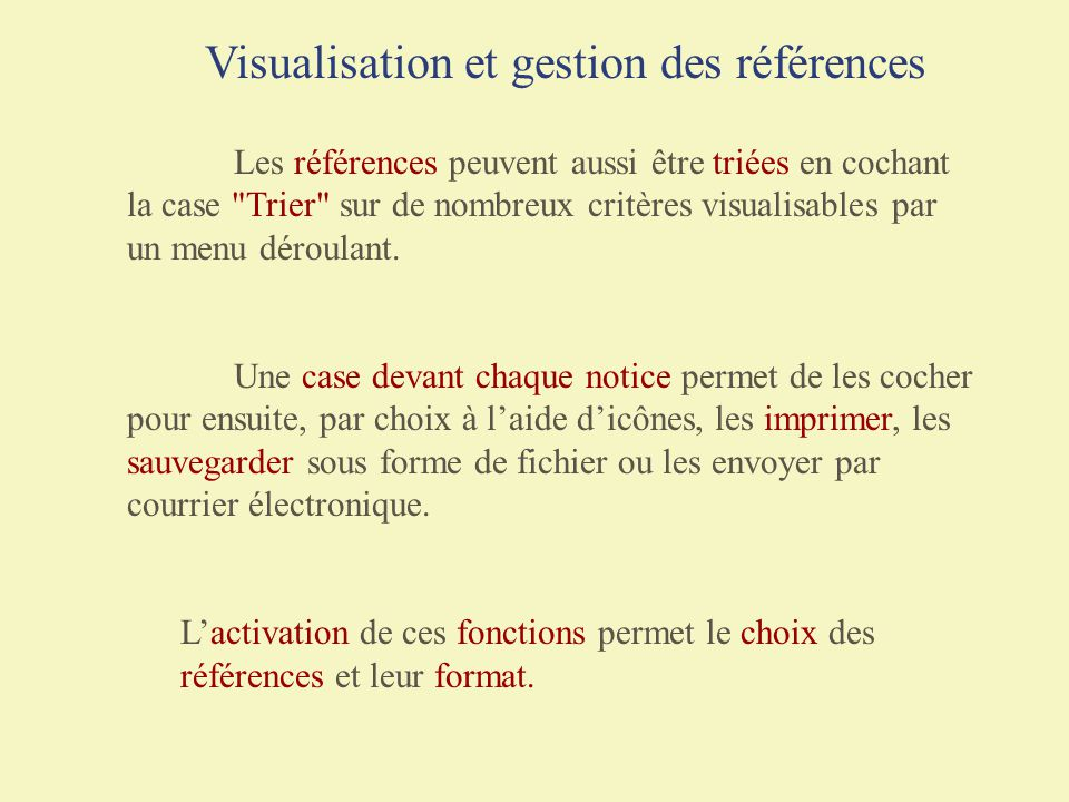 Visualisation et gestion des références
