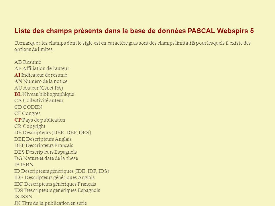 Liste des champs présents dans la base de données PASCAL Webspirs 5