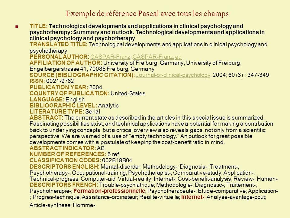 Exemple de référence Pascal avec tous les champs