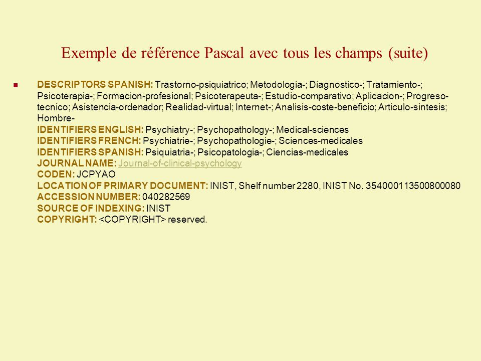 Exemple de référence Pascal avec tous les champs (suite)