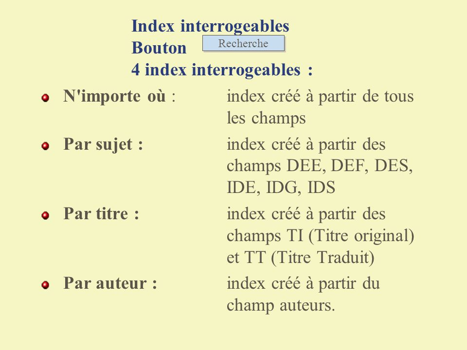 Index interrogeables Bouton 4 index interrogeables :