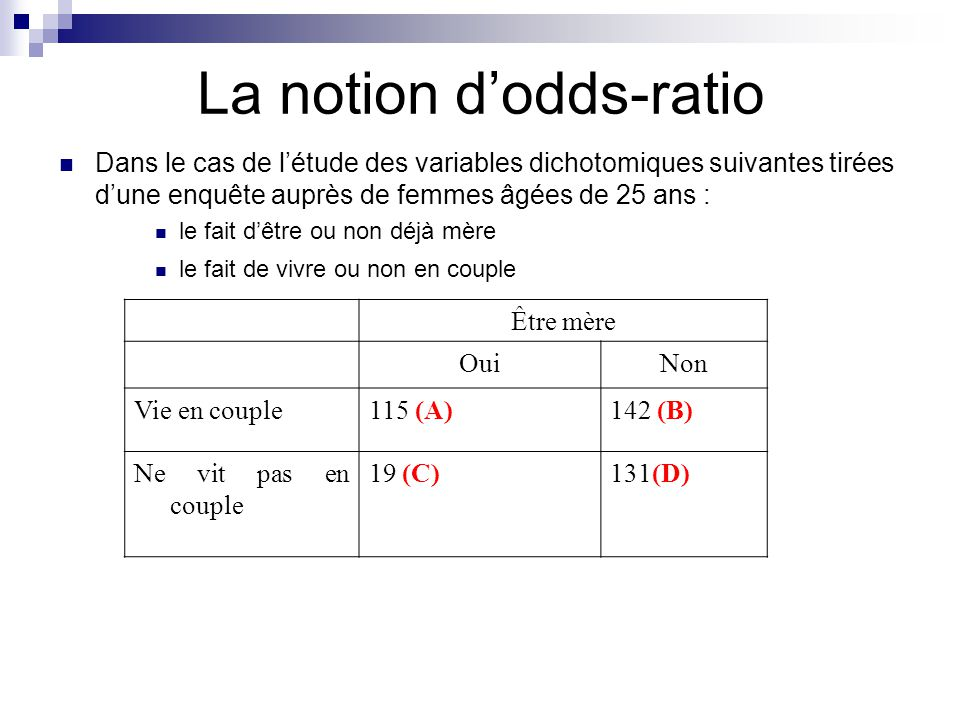 La notion d'odds-ratio