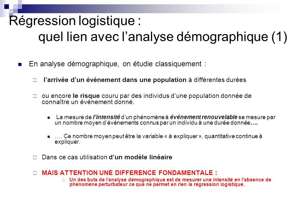 Régression logistique : quel lien avec l'analyse démographique (1)