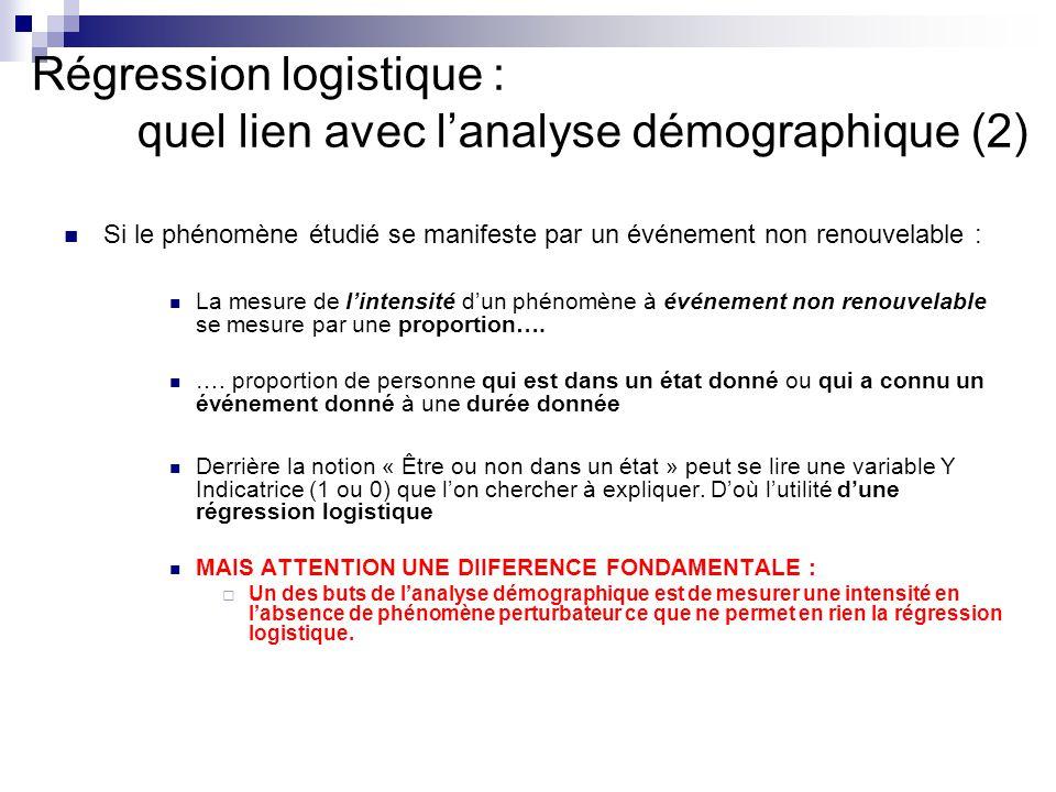Régression logistique : quel lien avec l'analyse démographique (2)