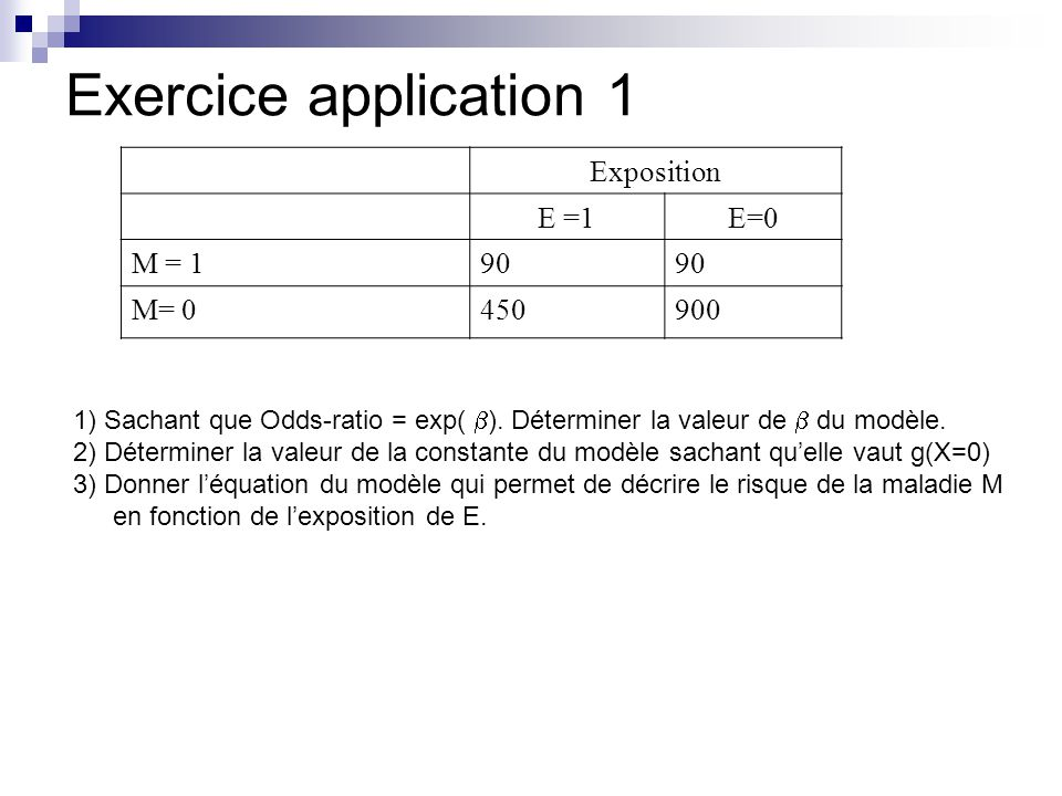 Exercice application 1 Exposition E =1 E=0 M = 1 90 M= 0 450 900