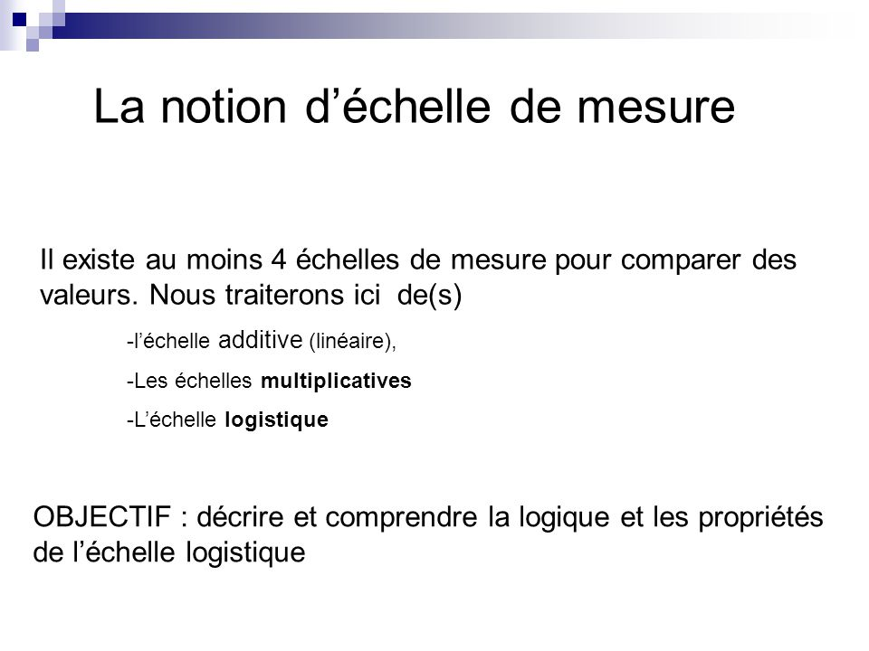 La notion d'échelle de mesure