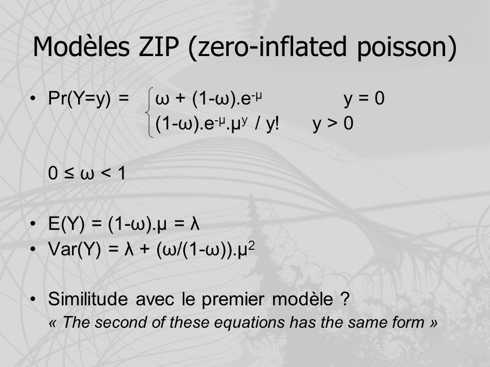Modèles ZIP (zero-inflated poisson)