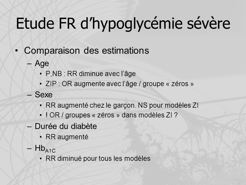 Etude FR d'hypoglycémie sévère