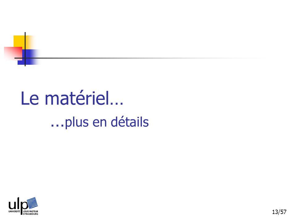 Le matériel… …plus en détails