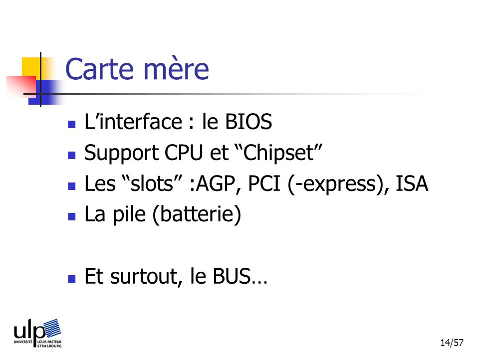 Carte mère L'interface : le BIOS Support CPU et Chipset