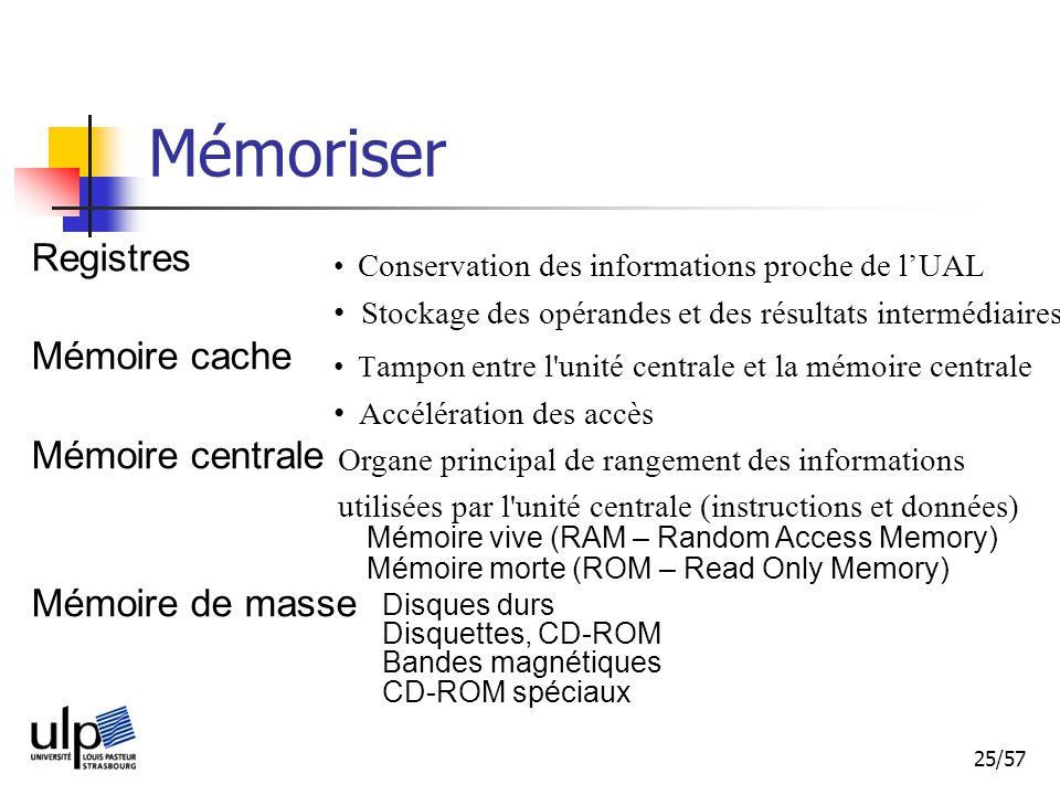 Mémoriser Registres Mémoire cache Mémoire centrale Mémoire de masse