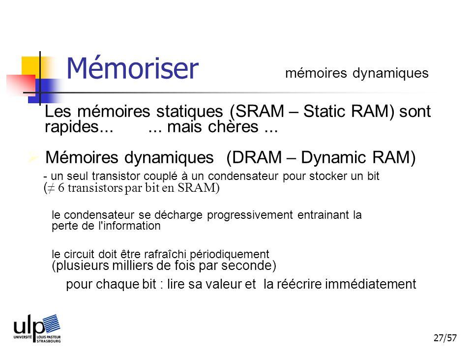Mémoriser mémoires dynamiques. Les mémoires statiques (SRAM – Static RAM) sont rapides... ... mais chères ...