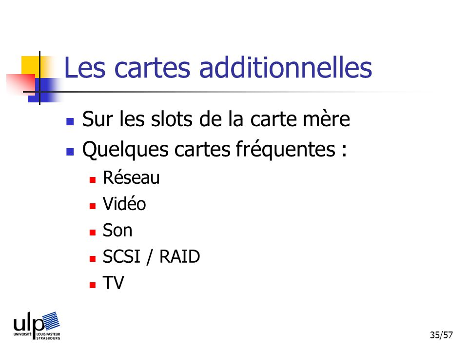 Les cartes additionnelles