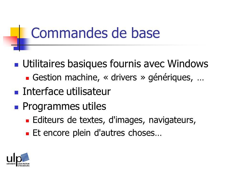 Commandes de base Utilitaires basiques fournis avec Windows