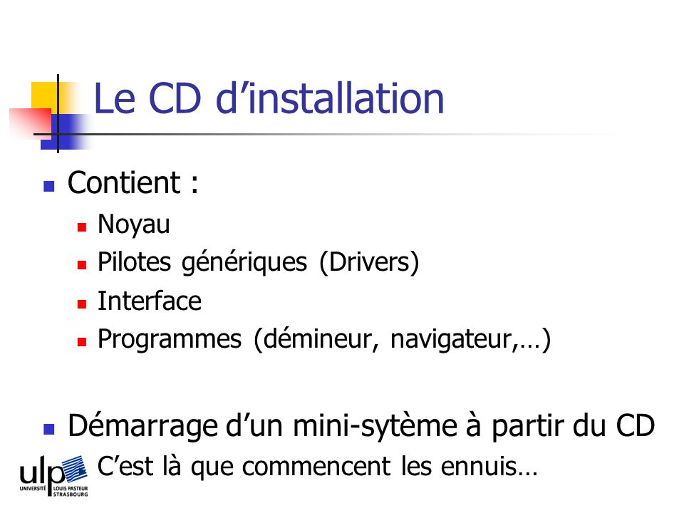 Le CD d'installation Contient :