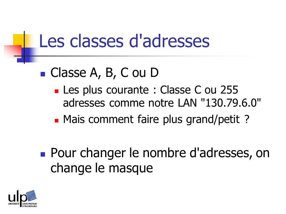 Les classes d adresses Classe A, B, C ou D