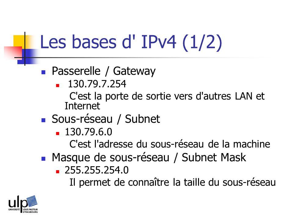 Les bases d IPv4 (1/2) Passerelle / Gateway Sous-réseau / Subnet