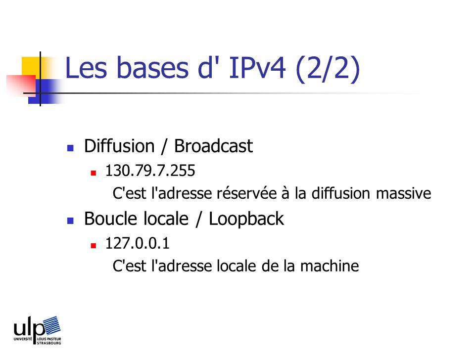 Les bases d IPv4 (2/2) Diffusion / Broadcast