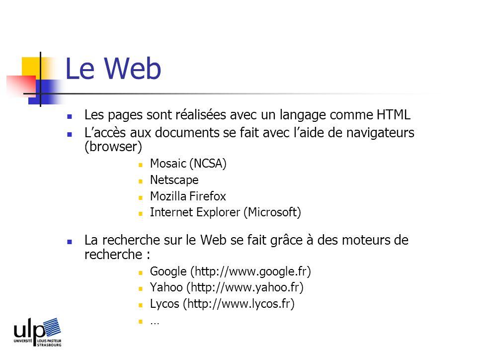 Le Web Les pages sont réalisées avec un langage comme HTML