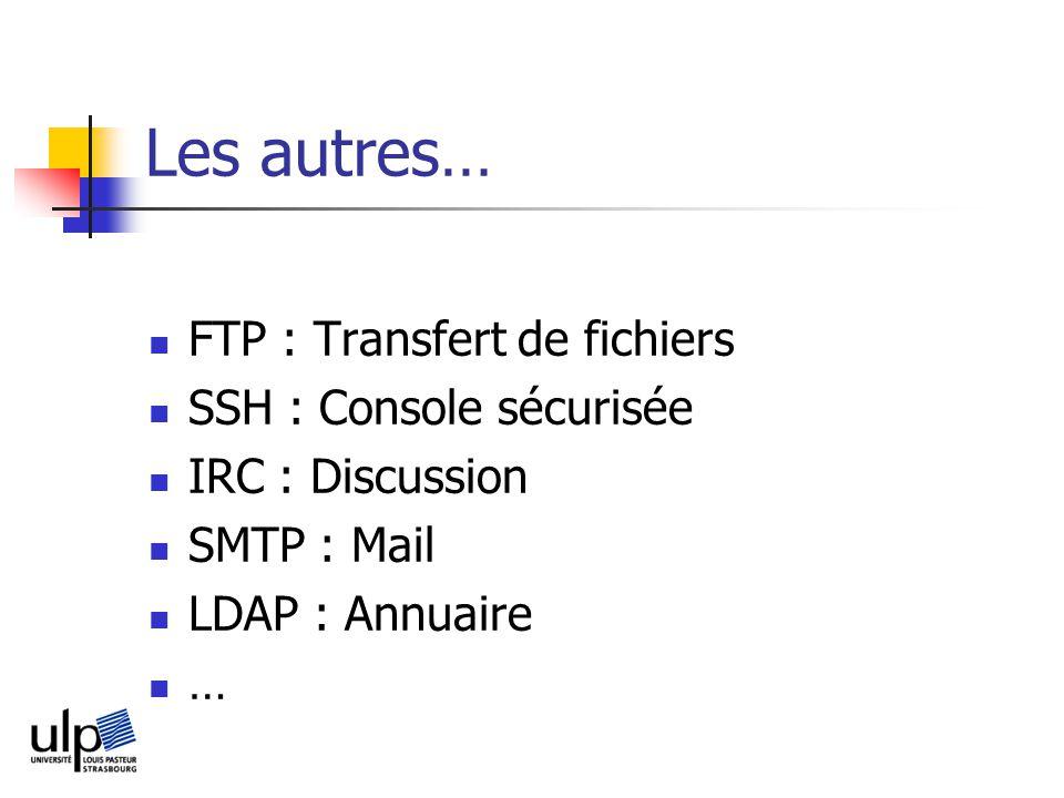 Les autres… FTP : Transfert de fichiers SSH : Console sécurisée