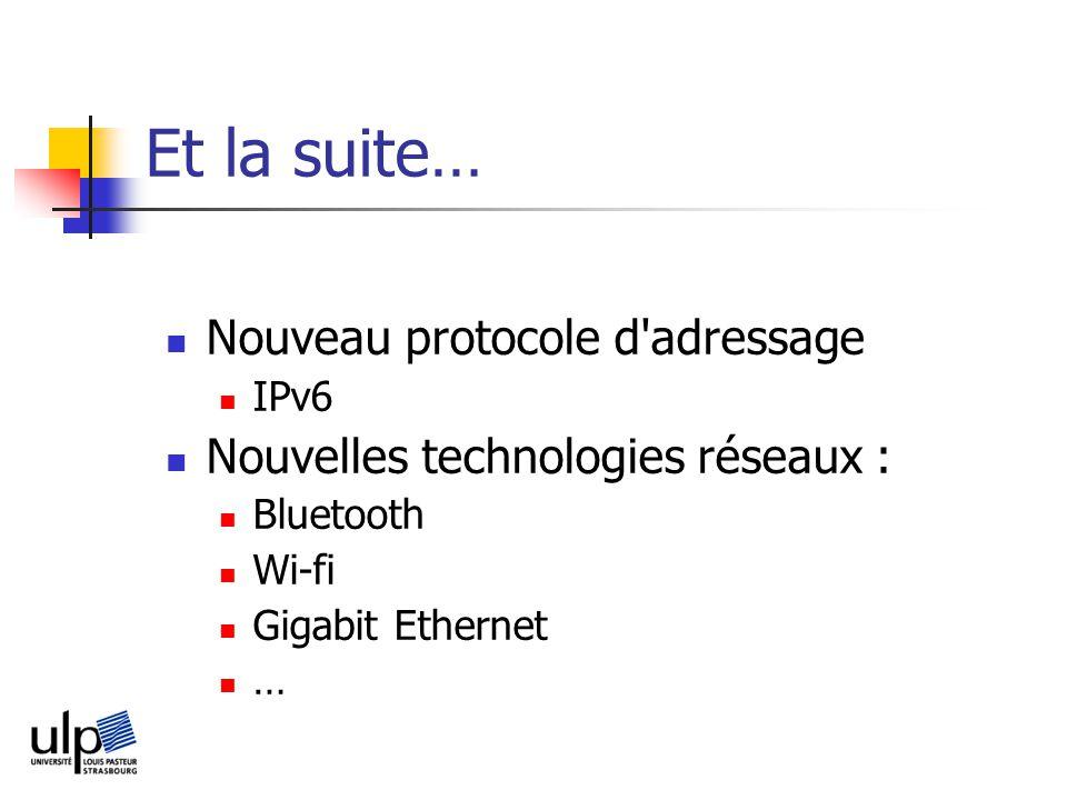 Et la suite… Nouveau protocole d adressage