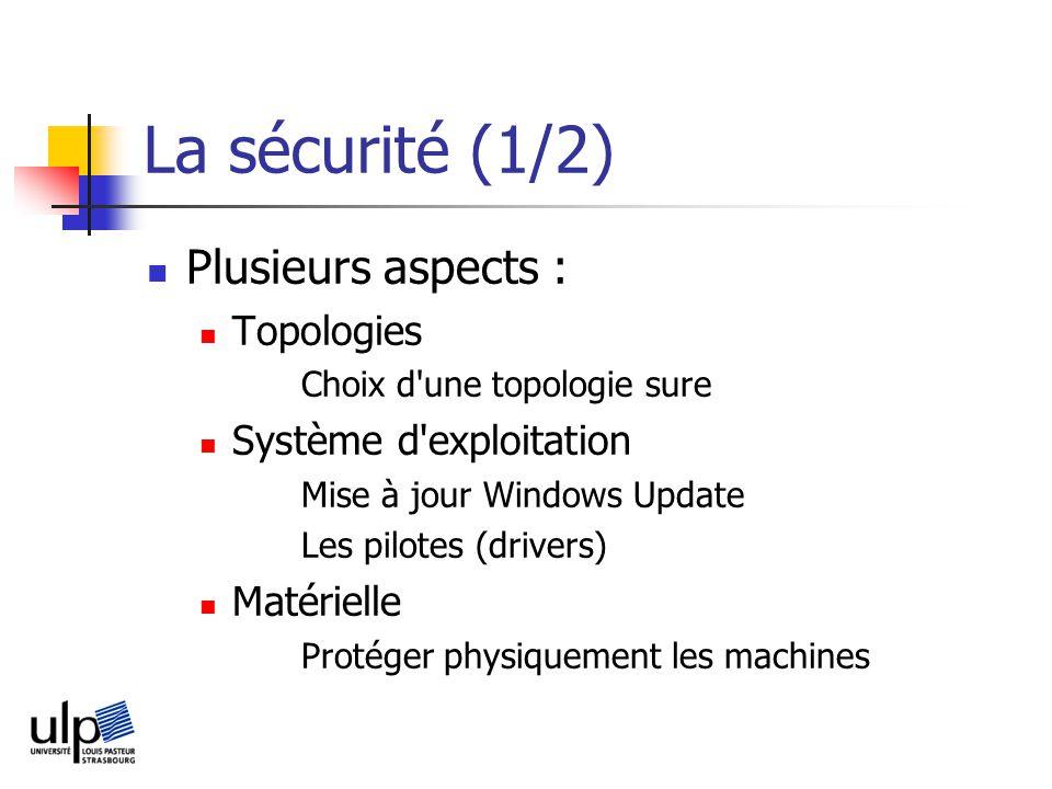 La sécurité (1/2) Plusieurs aspects : Topologies