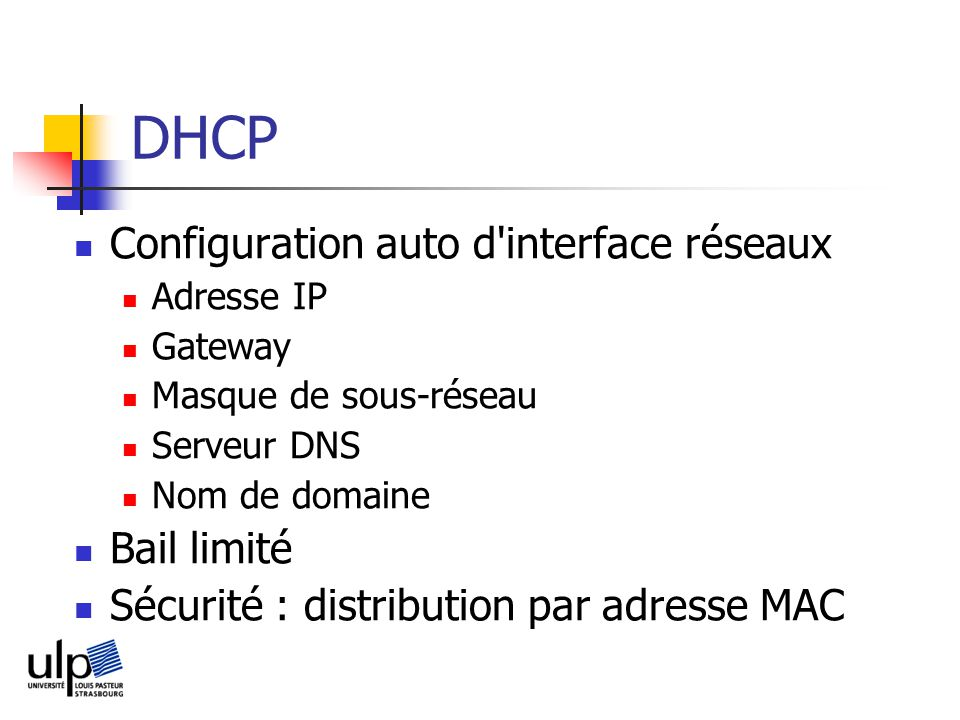DHCP Configuration auto d interface réseaux Bail limité