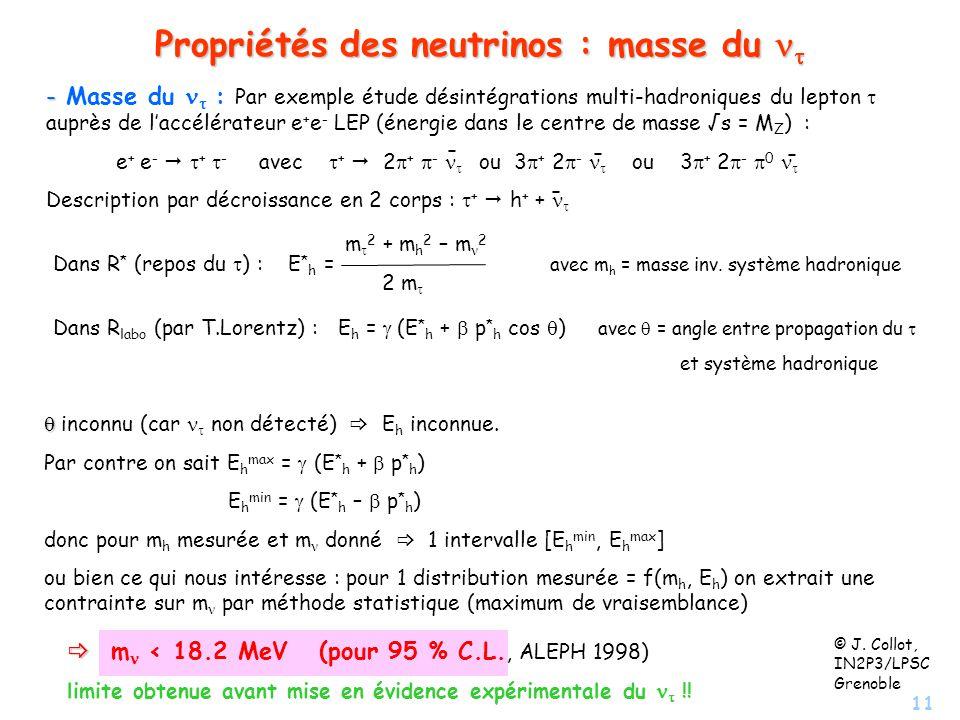 Propriétés des neutrinos : masse du nt