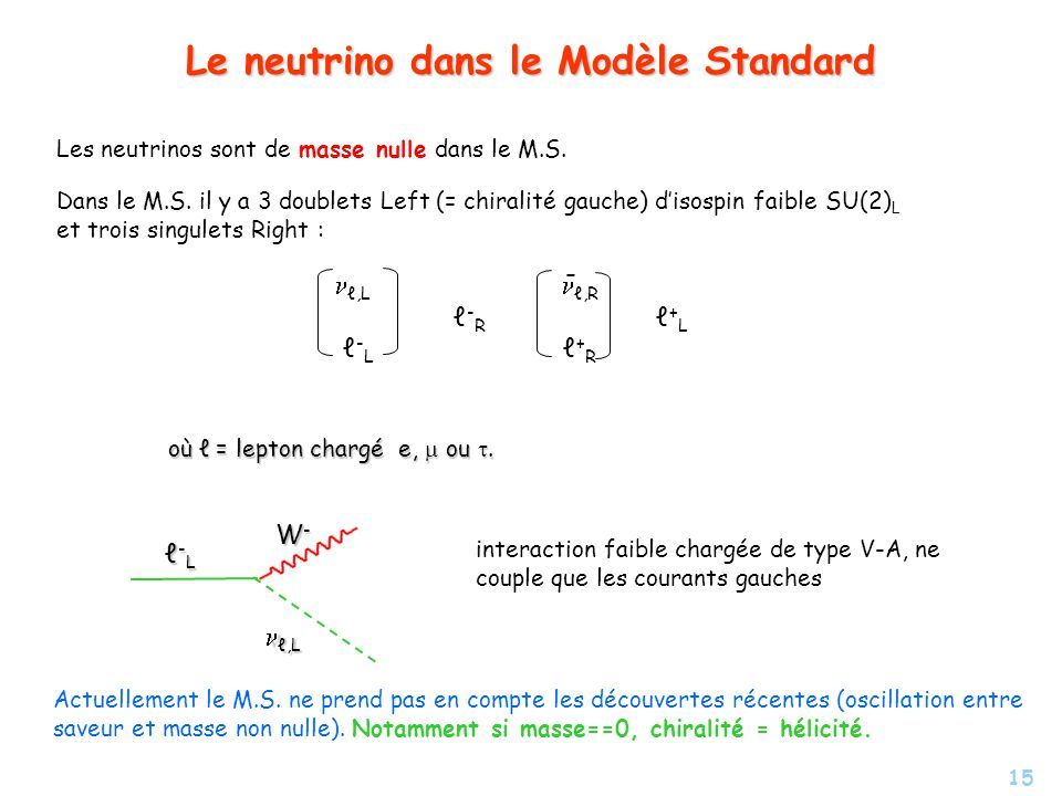 Le neutrino dans le Modèle Standard