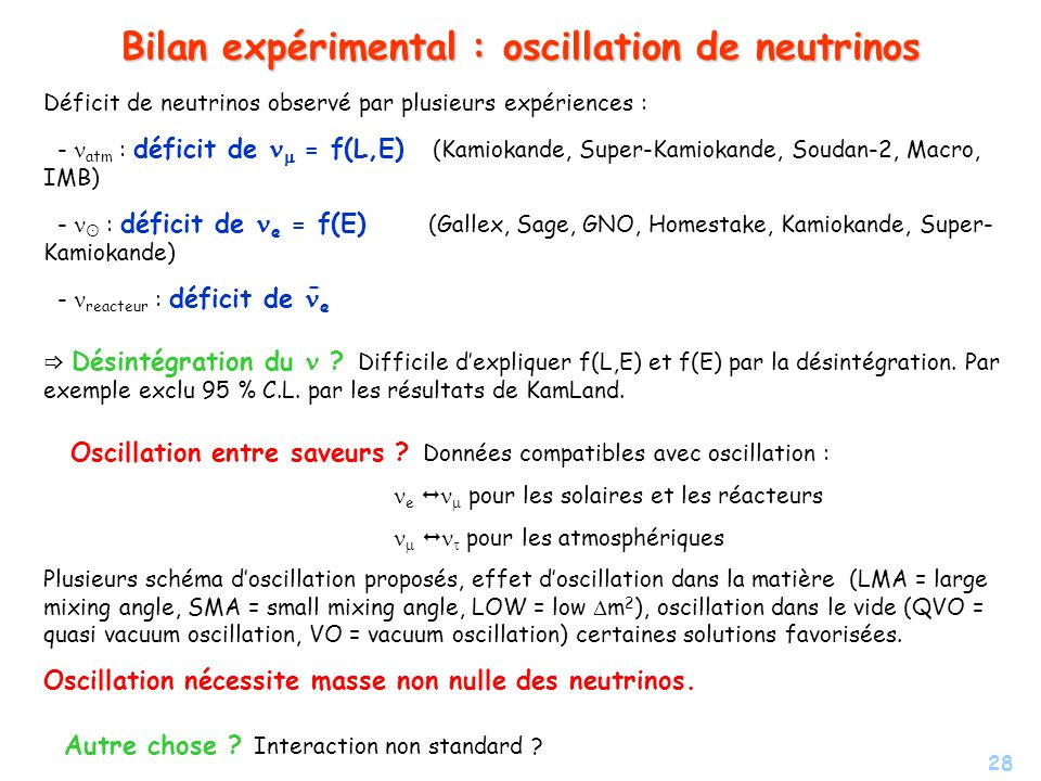Bilan expérimental : oscillation de neutrinos