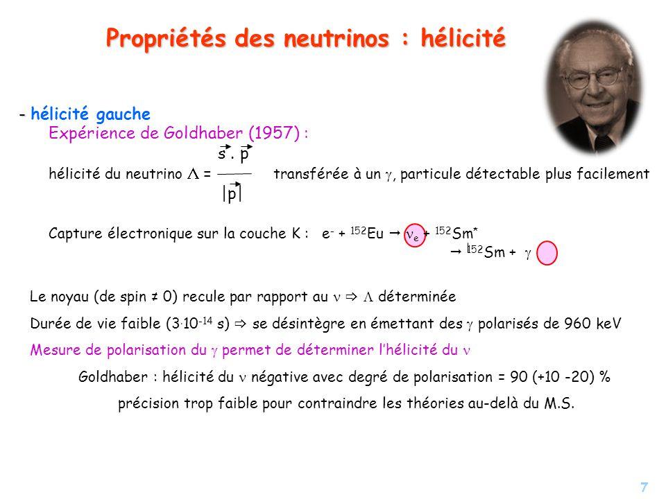 Propriétés des neutrinos : hélicité