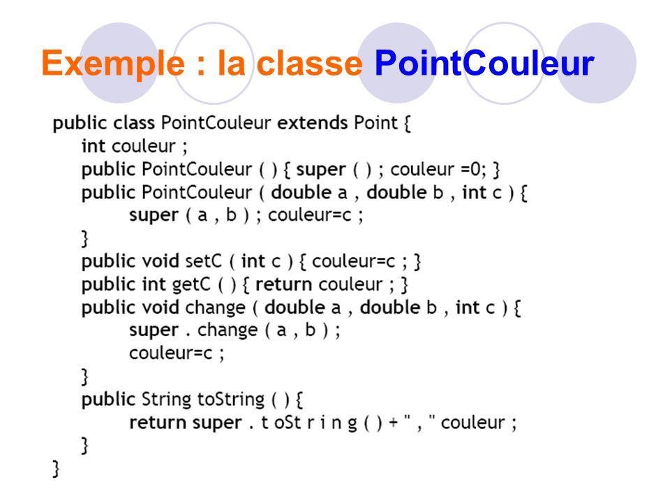 Exemple : la classe PointCouleur