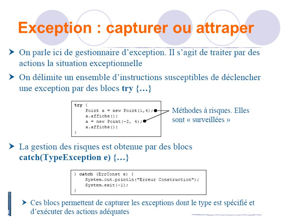 Exception : capturer ou attraper
