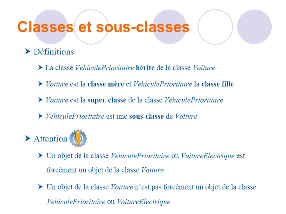 Classes et sous-classes