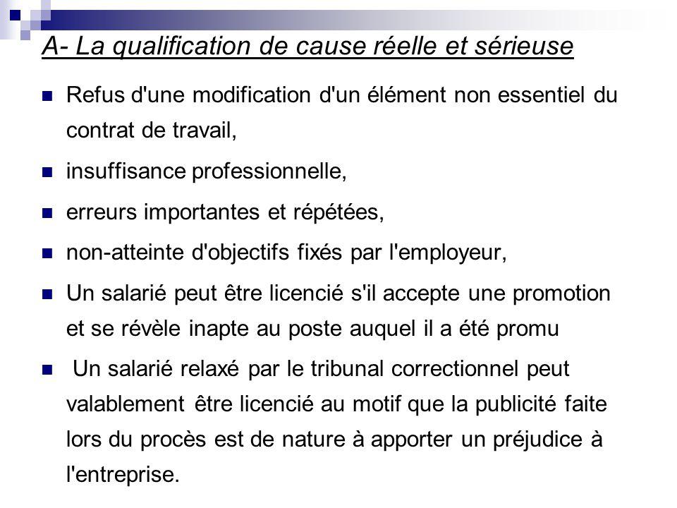 A- La qualification de cause réelle et sérieuse
