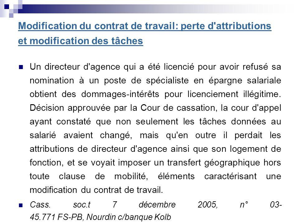 Modification du contrat de travail: perte d attributions et modification des tâches